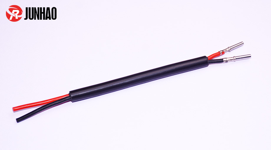 黑色2芯硅胶端子线束产品图